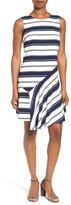 Halogen Stripe Asymmetrical Hem Dress (Regular & Petite)