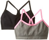 Jockey Big Girls' Black Grey 2 Pack Seamless Performance Crop Top