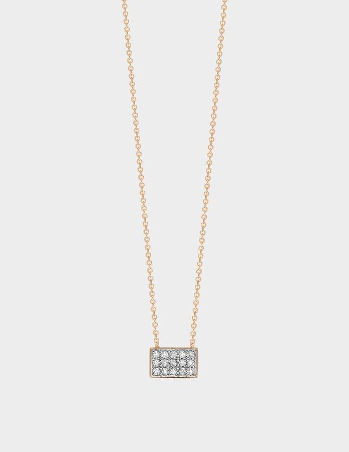 ginette_ny Tiny Diamond Rectangle Necklace in 18K Rose Gold and Diamonds