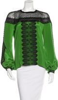 Andrew Gn Lace-Accented Silk Top w/ Tags