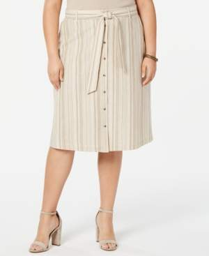 Bar III Trendy Plus Size Striped Button Front Midi Skirt, Created for Macy's