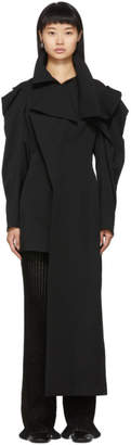 Yohji Yamamoto Black Deconstructed Shoulder Asymmetrical Coat