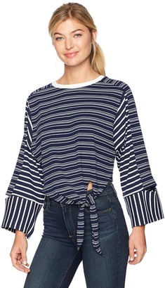 EVIDNT Women's Knotted Stripe Crop Top with Cut Out