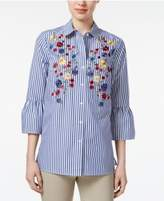 Charter Club Cotton Striped Embroidered Shirt, Created for Macy's