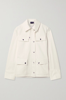 Akris Finn Leather-trimmed Denim Jacket - Ivory