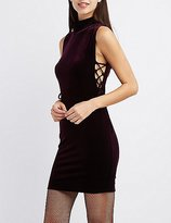 Charlotte Russe Velvet Mock Neck Lace-Up Dress