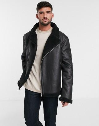 Asos Design DESIGN faux shearling biker jacket with teddy lining in black