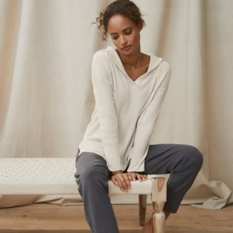 The White Company Wide-Rib Hoodie With Cashmere, Cloud Marl, Extra Small