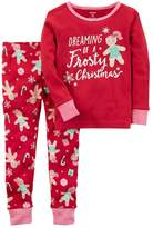 "Carter's Baby Girl Dreaming of a Frosty Christmas"" Gingerbread Girl Top & Bottoms Pajama Set"
