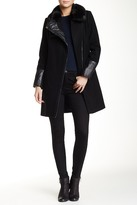 Rachel Roy Faux Fur Trim Collar & Faux Leather Trim Wool Blend Coat
