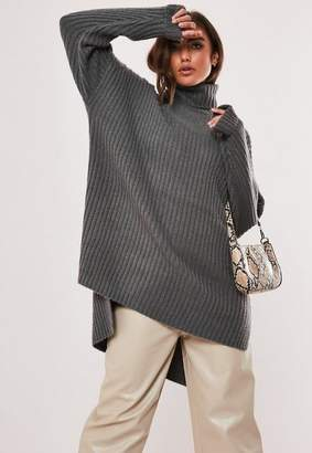 Missguided Gray Turtle Neck Step Hem Sweater