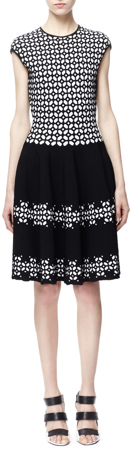 Alexander McQueen Fit-and-Flare Jacquard Dress, Black/White