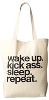 Dogeared Wake Up. Kick Ass. Sleep. Repeat. Tote
