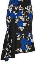 Jason Wu Asymmetric Ruffled Floral-Print Crepe Midi Skirt