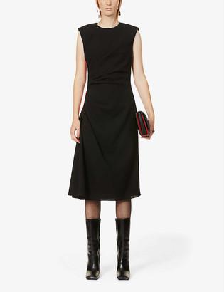 Alexander McQueen Contrast-panel wool-crepe midi dress