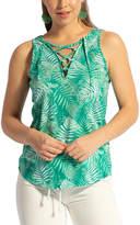 Lagaci Women's Tank Tops JADE - Jade Palm Leaf Lace-Up V-Neck Tank - Women