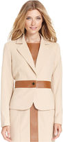 Calvin Klein Jacket, Faux-Leather-Trim Blazer