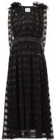 Halpern Sequin-striped Cape-back Tulle Midi Dress - Womens - Black
