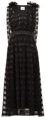 Halpern Sequin-striped Cape-back Tulle Midi Dress - Black