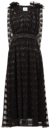 Halpern Sequin-striped Cape-back Tulle Midi Dress - Womens - Black