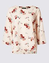 Marks and Spencer Floral Print Drop Hem 3/4 Sleeve Shell Top