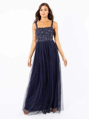 Maya Deluxe Women's Maya Navy Strappy Delicate Sequin Maxi Dress Bridesmaid 8