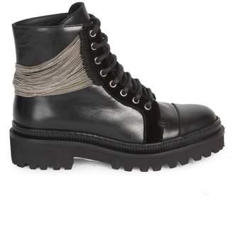 Balmain Chain & Leather Ranger Boots