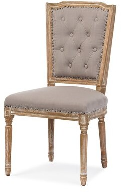 Ophelia & Co. Westrick Tufted Linen Upholstered Queen Anne Back Side Chair in Natural oak