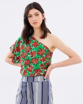 Warehouse Woodblock Floral One Shoulder Top