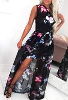 Pink Boutique Kiss From A Rose Multi Floral Print One Shoulder Maxi Dress