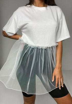 Missguided White Tiered Mesh T Shirt