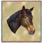 Dickens & Smyth Thoroughbred Horse Woven Lap Square (Throw Blanket)