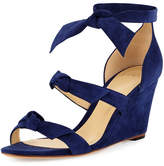 Alexandre Birman Gianna Anabela Knotted Suede Wedge Sandal, Navy