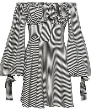 Zimmermann Maiden Off-the-shoulder Bow-detailed Striped Twill Mini Dress