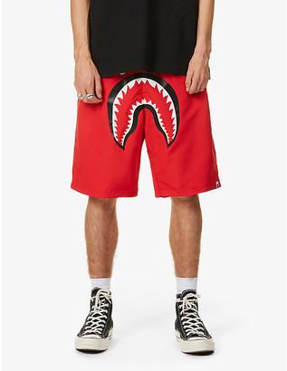 A Bathing Ape Shark print shell beach shorts
