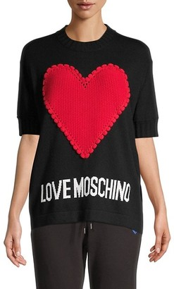 Love Moschino Logo Heart-Knitted Top