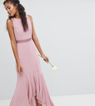 TFNC Tall Tall Maxi Bridesmaid Dress With High Low Hem-Pink