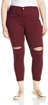 Celebrity Pink Jeans Women's Plus Size Cuffed Girlfriend Jeans with Knee Destruct