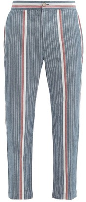 P. Le Moult - Striped Herringbone-cotton Pyjama Trousers - Navy
