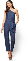 New York & Co. One-Shoulder Jumpsuit - Rinse Wash