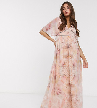 Little Mistress Maternity flutter sleeve maxi dress in marble print