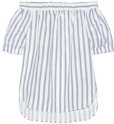 MICHAEL Michael Kors Off-the-shoulder Striped Linen Top - White