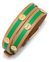 Tory Burch Striped Double-Wrap Logo Stud Bracelet