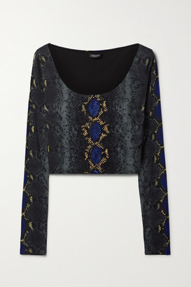 Versace Cropped Embellished Snake-print Stretch-jersey Top - Navy