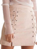 Prograce High Waist Lace Up Faux Suede Bodycon Tight Winter Skirt for Women S