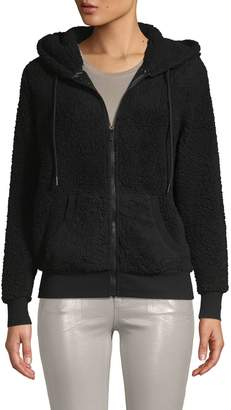 Andrew Marc Hooded Faux Fur & Fleece Teddy Jacket