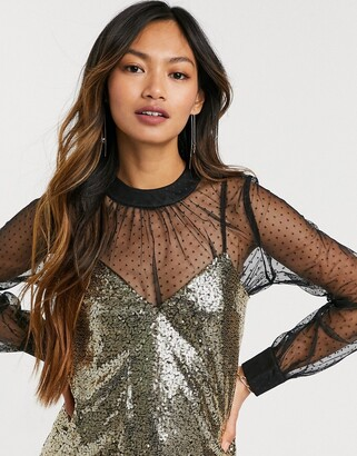 Forever U dobby mesh long sleeve top with sequin cami in black and gold