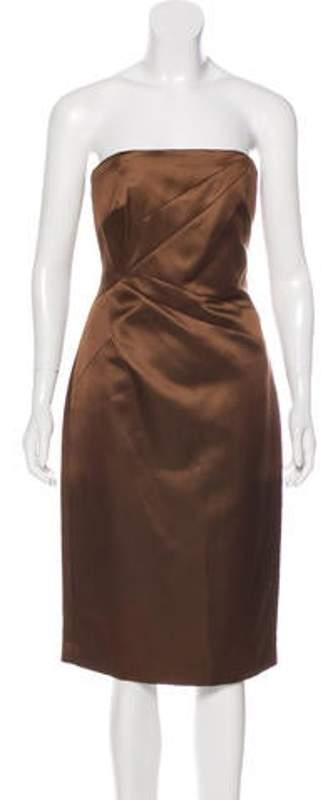 Michael Kors Strapless Silk Dress Brown Strapless Silk Dress