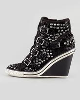 Ash Tosca Sparkling Wedge High-Top Sneaker, Black