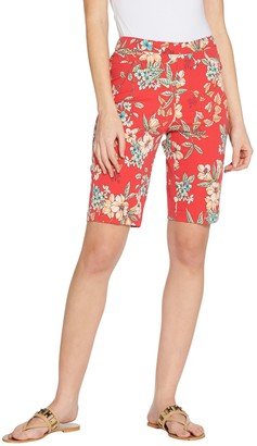 Isaac Mizrahi Live! Regular 24/7 Stretch Tropical Floral Bermuda Shorts